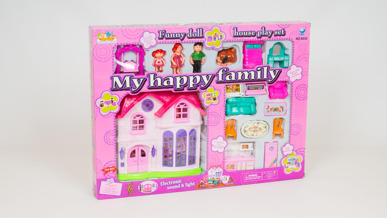 Кукольный домик - музыкальный с подсветкой. В комплекте 3 фигурки и мебель