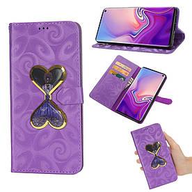 Чехол книжка для Samsung Galaxy S10e G970 боковой с отсеком для визиток Aqua series, Сердца, Фиолетовый