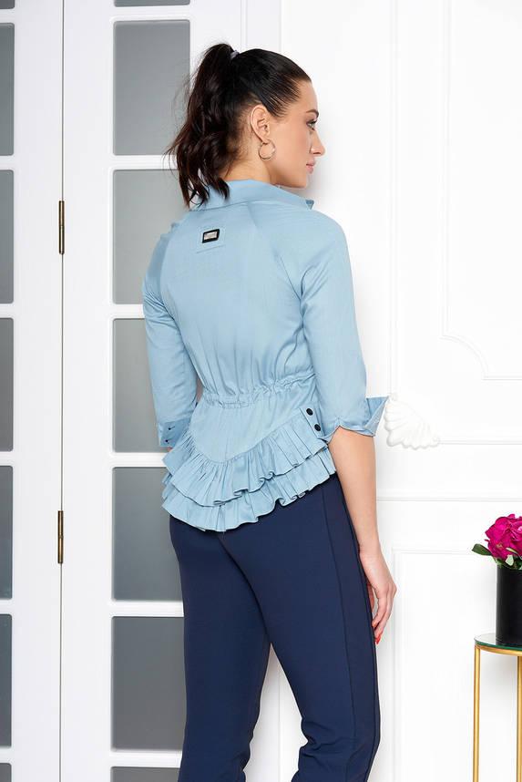 Красивая блузка с поясом и рюшами голубая, фото 2