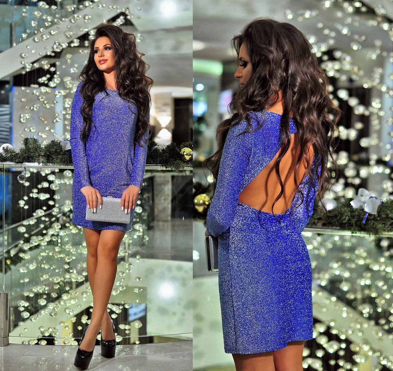 f3901e9244c Платье с люрексом и открытой спинкой. Электрик