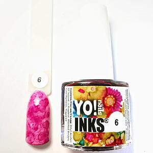 Чернила Yo nails 6, цвет розовый 5 мл