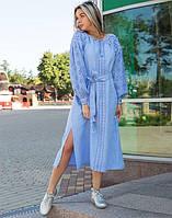 """Сукня блакитна вишита на льоні """"Чернігівщина"""" розміри в наявності"""
