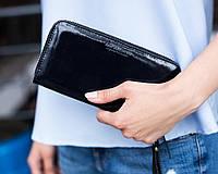 Кожаный женский кошелек 01 синий лак
