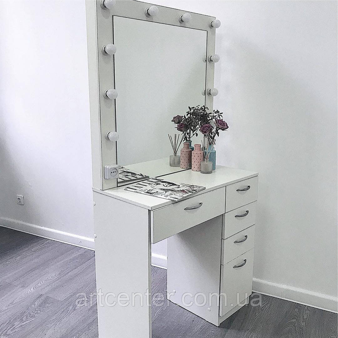 Вместительный стол для визажиста, туалетный столик на две тумбы