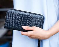 Кожаный женский кошелек 01 синиий питон