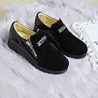 Туфлі жіночі чорні натуральні замшеві 36р, фото 1