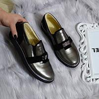 Туфлі жіночі шкіряні бронзові.