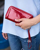 Кожаный женский кошелек 01 красный лак
