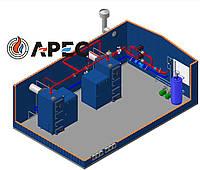 Блочно Модульная Котельная 300 кВт(Топиво пелета)(Ретортная горелка)