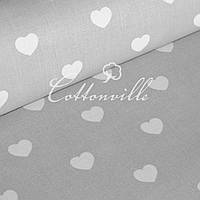 Бязь Сердечка білі на сірому (30 мм)