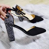 Туфлі чорні жіночі на каблуку. Тільки 37,40 розміри!