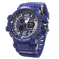 ➚Мужские часы Smael 1509 Blue с нержавеющей стали круглым дисплеем хронометр календарь влагозащищенные