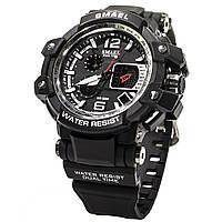 ☝Часы Smael 1509 Black мужские спортивные влагозащищенный двойной дисплей электронные часы круглый циферблат