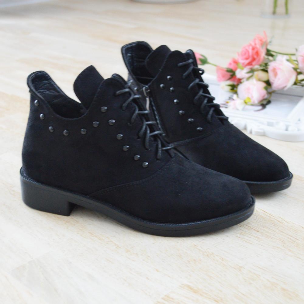 Черевики жіночі чорні екозамша на низькому каблуку. Тільки 36,37,40,41 розмір!