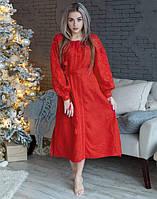 """Сукня червона вишита на льоні """"Чернігівщина"""" розміри в наявності, фото 1"""