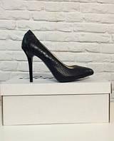 Туфли лодочки из натуральной кожи черного цвета, фото 1