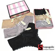 Набор Женского Нижнего Белья в стиле Victoria's Secret Трусики Слипы 3 шт.