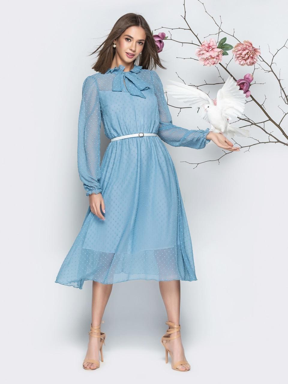 8885f5b7f87 Голубое женское шифоновое платье в фактурный