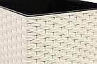 """Кашпо пластиковое """"Финезия"""" РОТАНГ, с вкладом, 400мм, (белый) разные цвета, фото 8"""