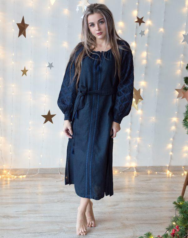 """Сукня темно-синя з вишивкою лляна """"Чернігівщина"""" розміри в наявності 48"""