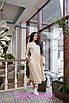 Приталенное платье длины миди цветочным узором, фото 2