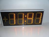 Часы термометр светодиодные желтые с отображением даты и месяца