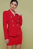 Деловой пиджак женский 2019 с двумя рядами пуговиц красный черный размер 50, фото 2