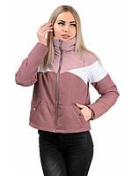 Женская куртка цвета пудра с воротником стойка и манжетами со вшитой ниткой-резинкой