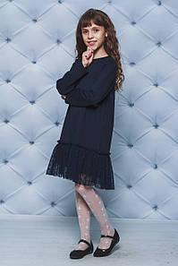 Платье трикотажное для девочки темно-синее