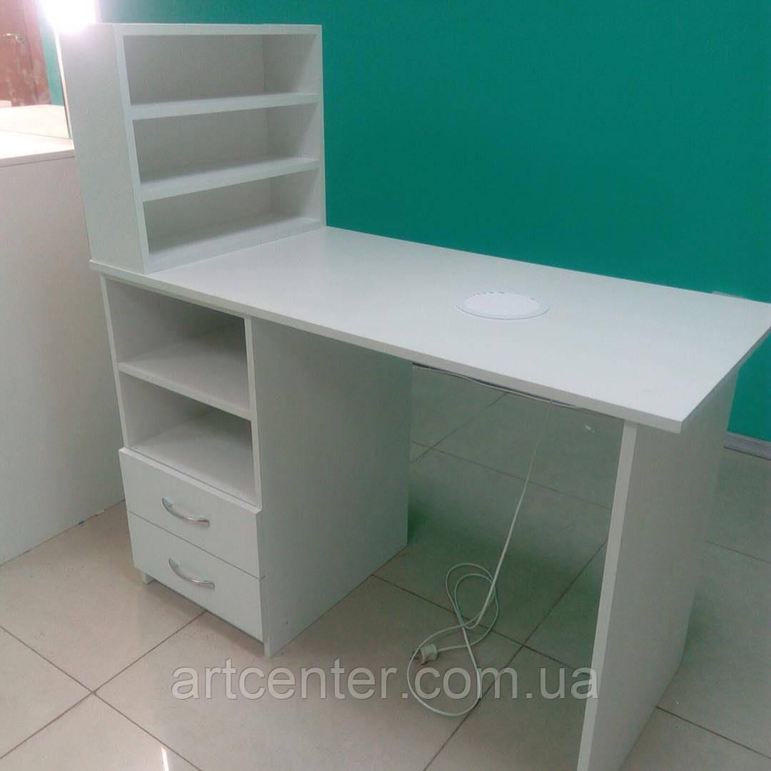 Классический маникюрный стол с полочкой для лаков