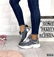 Кроссовки женские замшевые серые на высокой подошве, фото 1