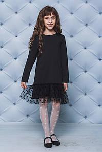 Платье трикотажное для девочки черное