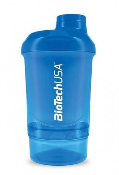 Шейкер BioTech - Wave+Nano Shocking Blue (300 мл +150 мл) голубой
