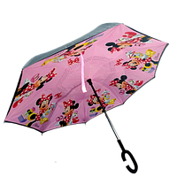 Умный зонт наоборот Up-brella. Зонт обратного сложения - Антизонт Minnie Mouse