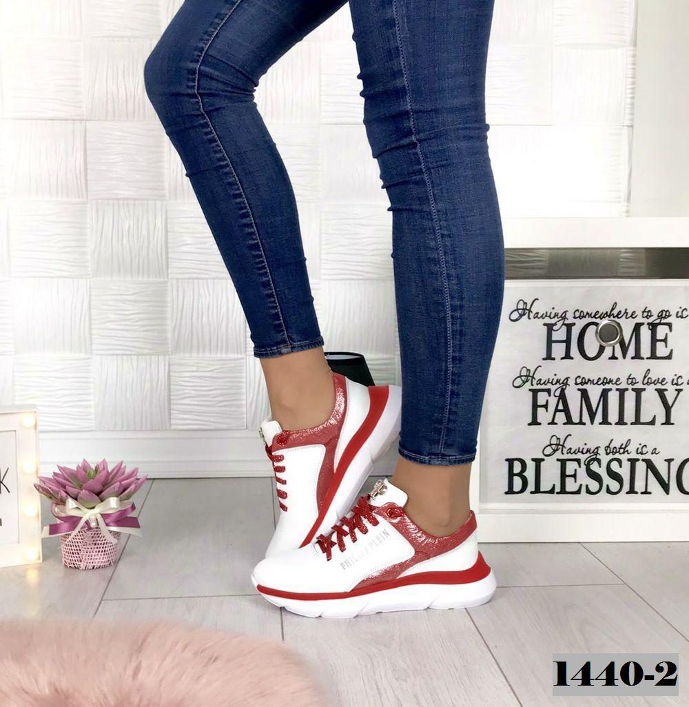 Кроссовки женские кожаные белый+красный