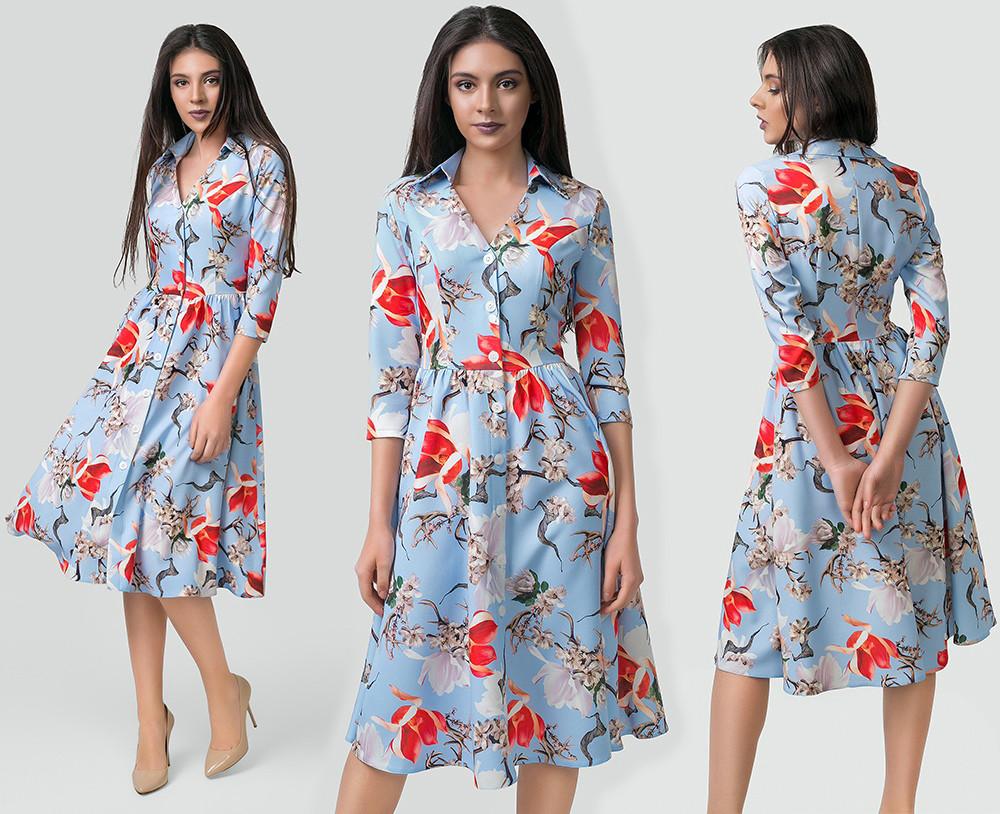 """Элегантное женское платье средней длины 5604 """"Барби Цветы Миди Пуговички"""" в расцветках"""