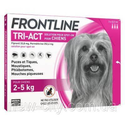 Frontline Tri-Act (Фронтлайн Три-Акт) капли от блох, клещей и комаров для собак весом 2-5 кг