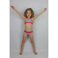 Купальник раздельный джинсовый с красным - пляжная одежда для детей, туники, панамы, рубашки