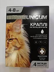 Краплі Unicum premium Унікум преміум для кішок від бліх і кліщів на холку 4-8 кг