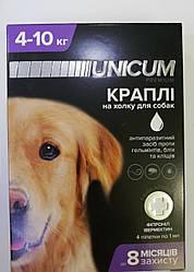 Краплі Unicum Premium Унікум Преміум Плюс для собак від бліх кліщів і глистів 4-10 кг