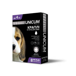 Краплі Unicum Premium Унікум Преміум Плюс для собак від бліх кліщів і глистів до 4 кг