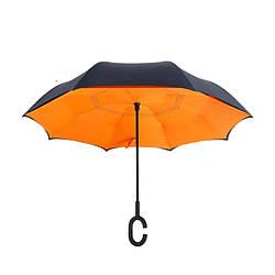 Зонт обратного сложения антизонт ветрозащитный д110см 8сп MHZ WHW17133 Orange