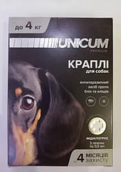 Краплі Unicum premium Унікум преміум для собак від бліх та кліщів на холку до 4 кг