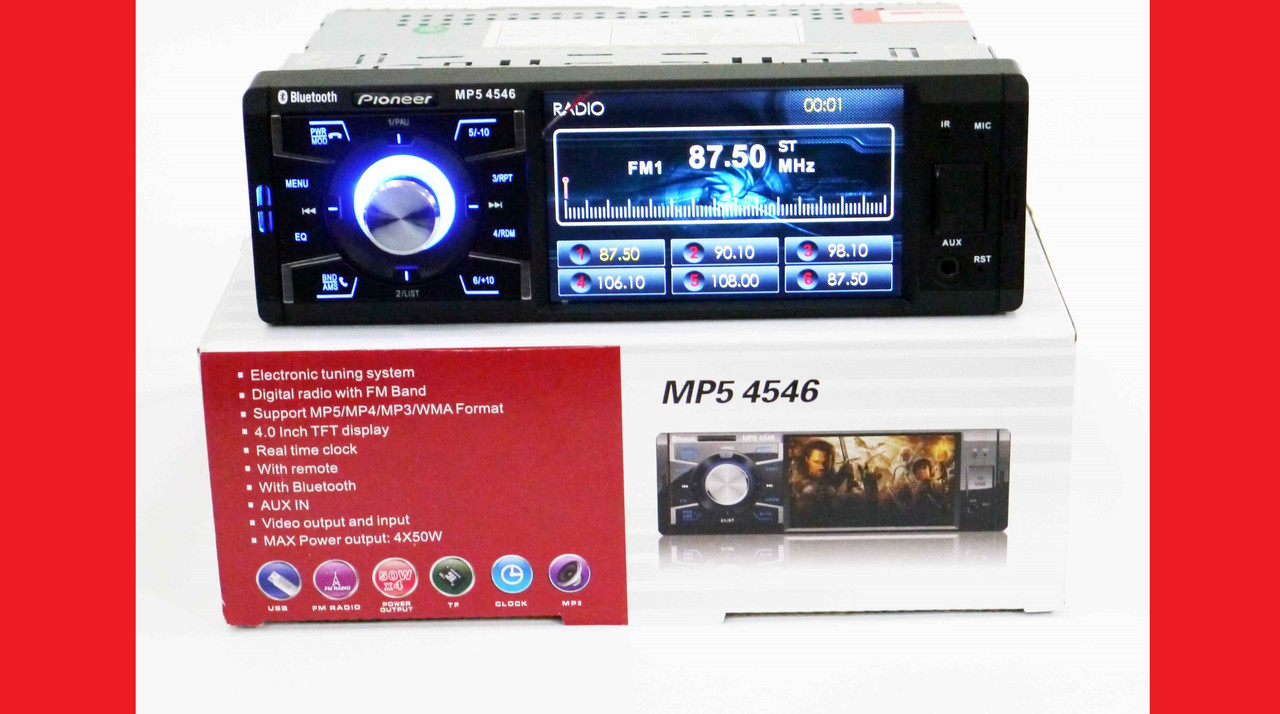 "Автомагнитола MP5 Pioneer PA4546 экран 4"" Bluetooth AV-in"