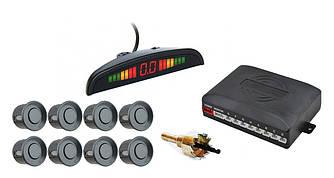 Парктронік автомобільний UKC на 8 датчиків + LCD (темно-сірі датчики)
