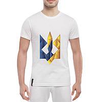 Мужская стильная футболка с цветным Гербом Украины