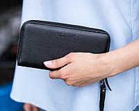 Шкіряний жіночий гаманець 01 чорний флотар, фото 1