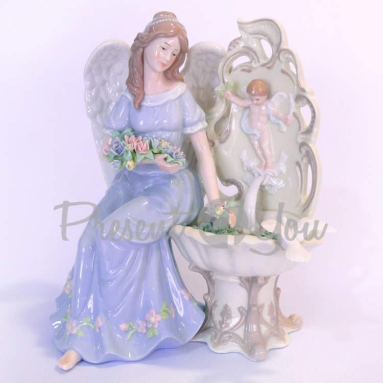 Фигурка «Ангел у фонтана», фарфор, h-26,6 см (350-3079)