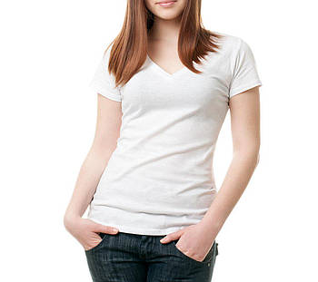 Жіноча футболка джерсі V-виріз розмір XXL