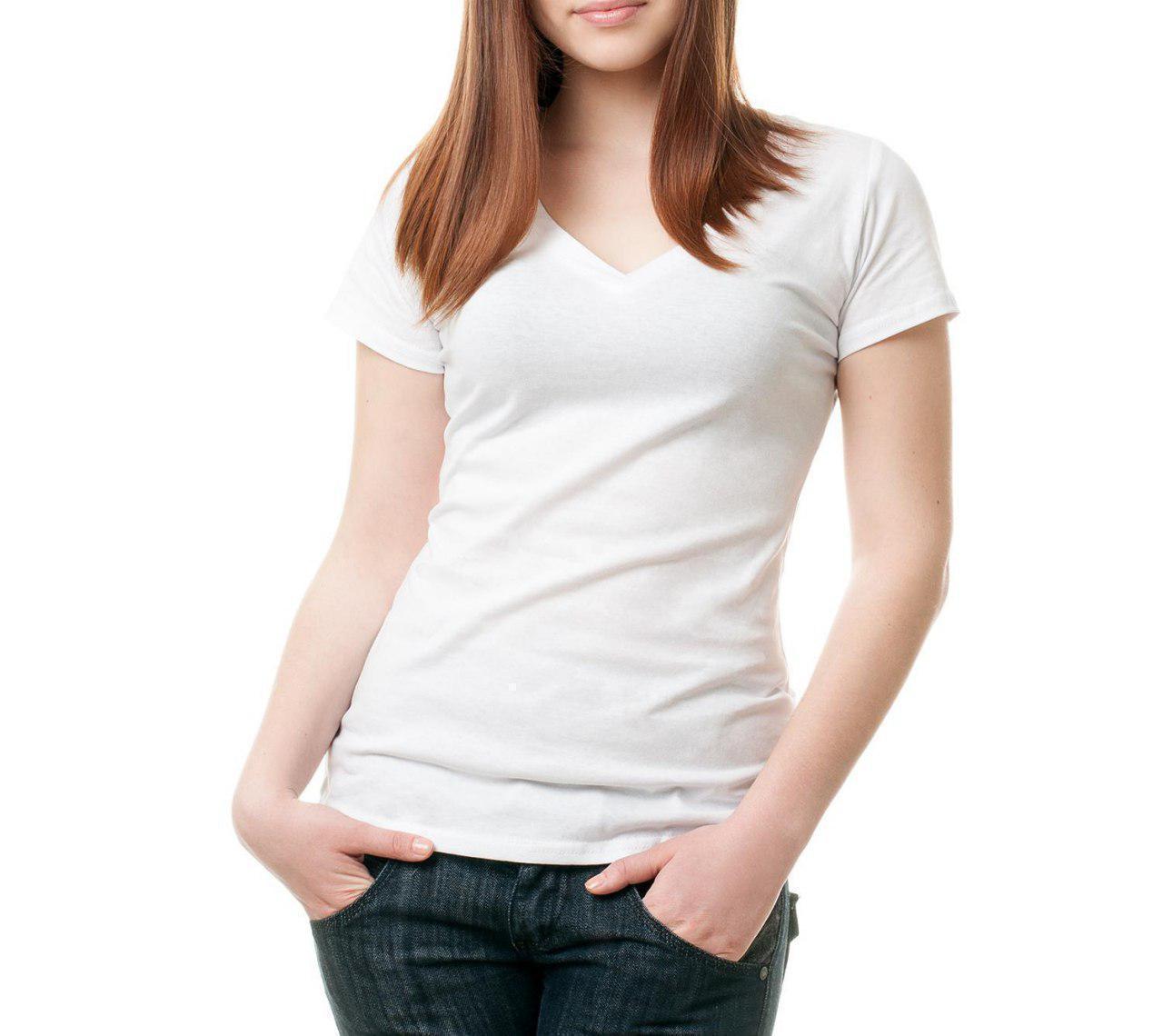 Жіноча футболка джерсі V-виріз розмір 4XL